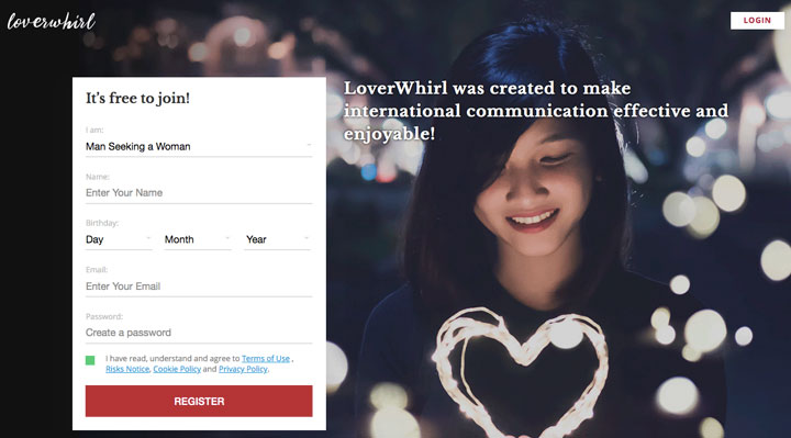 LoverWhirl main page