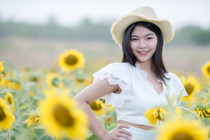 beautiful sexy asian woman white dress