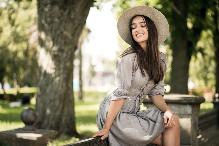 Russian girl city in hat