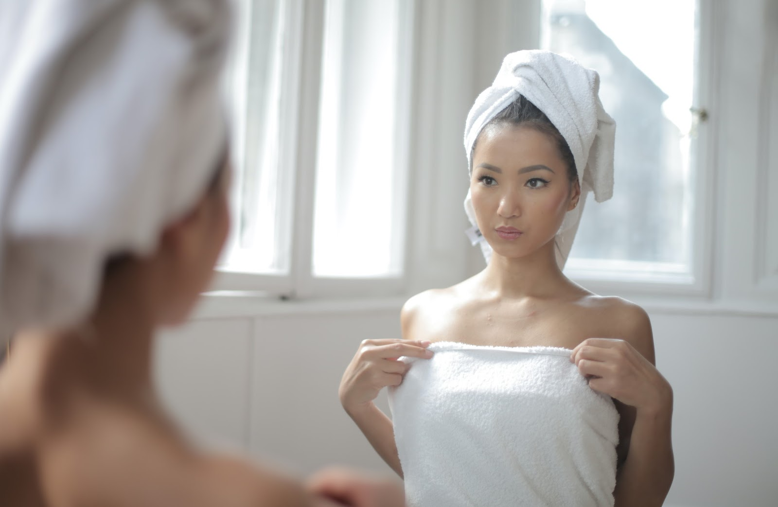 asian Chinese girl in bathroom