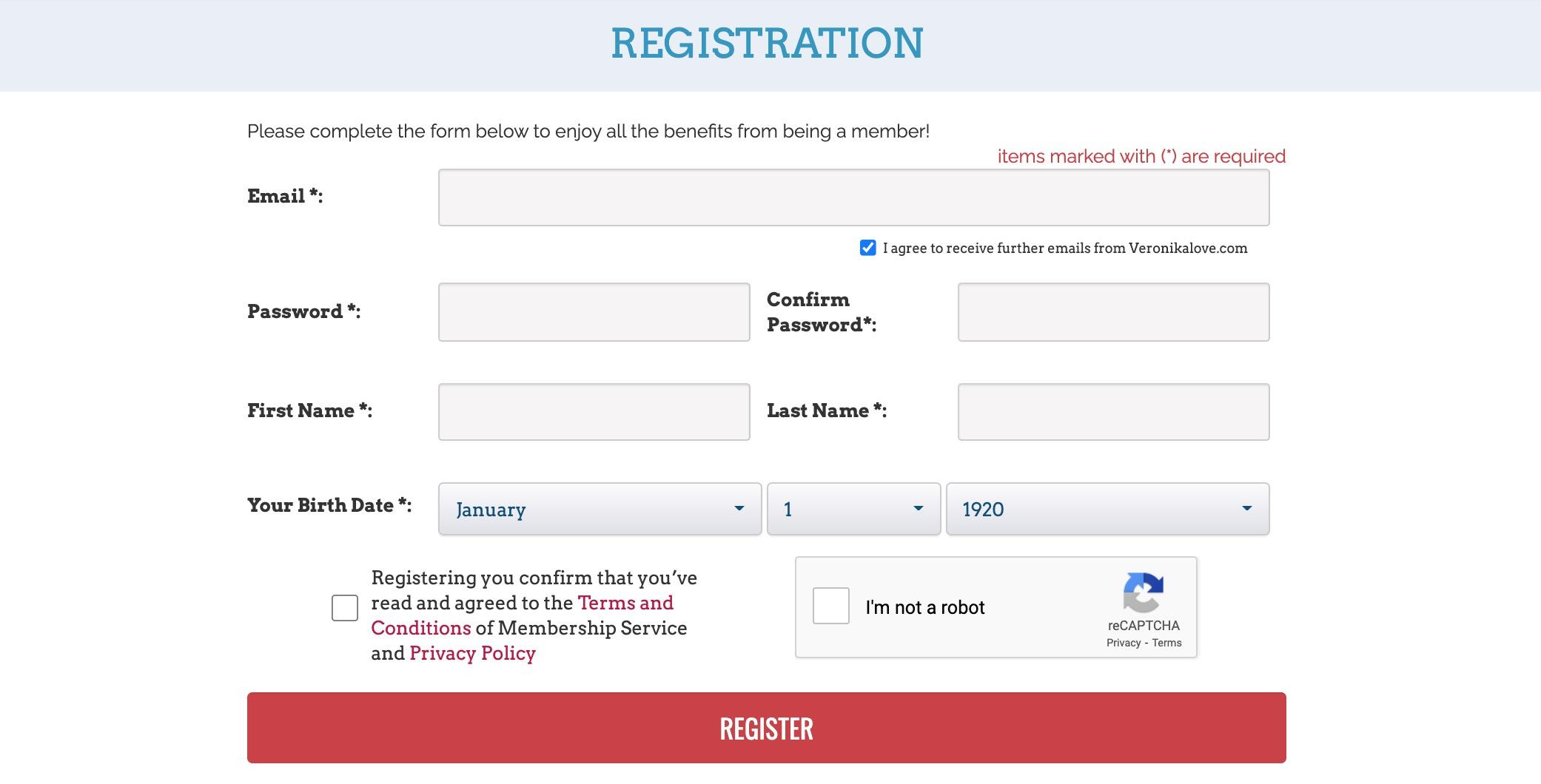 VeronikaLove registration